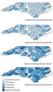 More than half of the state's counties are already experiencing population aging, a demographic shift in which the median age of the population increases significantly due to improved life expectancy and a drastic decline in birth rate. Map progression shows the changing number of people over 65 in each county.